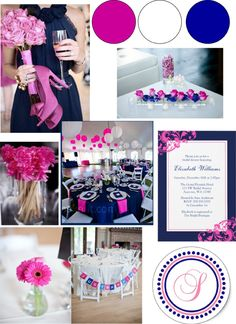 Navy Blue and Pink #wedding #party  ADD hints and teal, yellow and purple and we got a deal