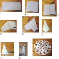 How to Cut Easy Snowflakes from Paper or Fabric: How to Fold and Cut Snowflakes Paper Snowflakes Easy, Snowflakes For Kids, Paper Snowflake Designs, Paper Snowflake Template, Snowflake Cutouts, Simple Snowflake, Snowflake Craft, Cut Out Snowflakes, Origami Templates