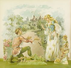 Beauty and the Beast Pop-up from The Land of Long Ago : a visit to Fairyland with Humpty Dumpty · Weedon, L. L. (Lucy L.) · ca. 1890 · Albert and Shirley Small Special Collections Library, University of Virginia.