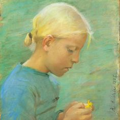 Pastel by Anna Ancher – 'Little girl with flower' 1885. Have a nice Wednesday <3 #annaancher