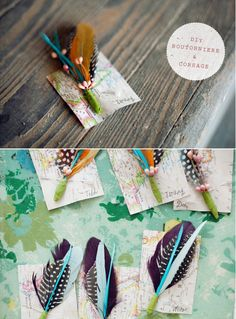 feather bouts and corsages by elise (great wedding diy) I love that they pinned them to parts of maps.