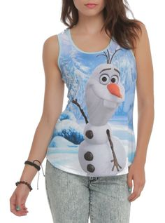 Racer back tank top from Disney's Frozen with large Olaf sublimation print design on front.