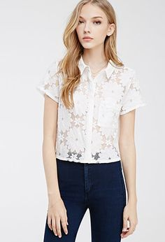 Collared Lace Shirt   Forever 21 - 2000134142