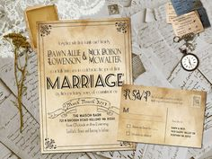 Wedding Invite and RSVP  Marvelle Vintage Rustic by FifthVintage, $2.30 Love for a Vintage Southern Wedding