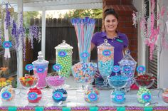 Wedding Candy Buffet- Colorful Candy Bar Idea Amazing, and beautiful at the same damn time. Lolly Buffet, Candy Buffet Tables, Dessert Buffet, Candy Table, Buffet Ideas, Candy Trees, Bar A Bonbon, Candy Bar Wedding, For Elise