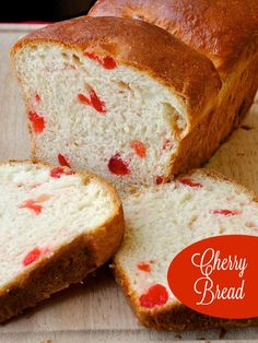 Cherry Bread - a Christmas tradition at our house. This sweet bread recipe is terrific for brunch, as the base for a luscious bread pudding, or to enjoy as the best morning toast ever. Makes a wonderful addition to Holiday breakfasts every year too.