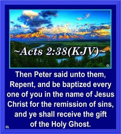 """✝✡Trust in the LORD Jesus-Yeshua with all thine Heart✡✝ ( Acts KJV ) """"Then Peter said unto them, Repent, and be Baptized every one of you in the Name of Jesus Christ for the remission of sins… Acts Bible, Morning Verses, Spirit Of Truth, Holy Spirit, Acts 2 38, Bible Humor, Peter Says, Bible Prayers"""