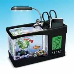 USB EXECUTIVE DESKTOP AQUARIUM. Looking for the ultimate gift for any cubicle dweller? Make them the envy of their office with this new, USB powered mini aquarium from Innovatoys. Water re-circulates, providing fresh oxygen and allowing a wide variety of aquatic friends to flourish in the tank. This unique aquarium also features overhead LED lighting as well as color-changing LEDs for mystifying, undersea illumination