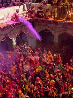 Holi, the festival of colors, is celebrated in March in India. Participants throw bright colored powders at each other. There is religious significance, but it is also a way to welcome spring.