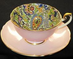 Shelley Blue Paisley Chintz Peach Lincoln Tea Cup and Saucer