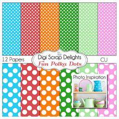 Polka Dots Digital Scrapbook Paper for by DigiScrapDelights