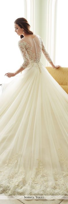 Sophia Tolli Fall 2016 Wedding Gown Collection - Style No. Y21666 Andria - long sleeve A-line wedding dress with illusion 3/4 length sleeves and full tulle skirt