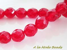 10MM Light Red Czech Fire Polished Rounds Faceted by AlaModeBeads