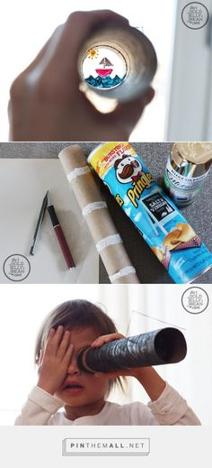 DIY Make Your Own Telescope with removable slides, Kids Craft Peter Pan Crafts, Telescope Craft, Space Telescope, Diy For Kids, Crafts For Kids, Peter Pan Art, Summer Camp Themes, Pirate Kids, Pringles Can