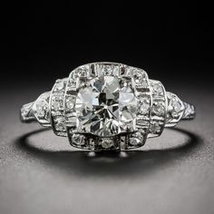 1.06 ct. Art Deco Platinum and Diamond Engagement Ring