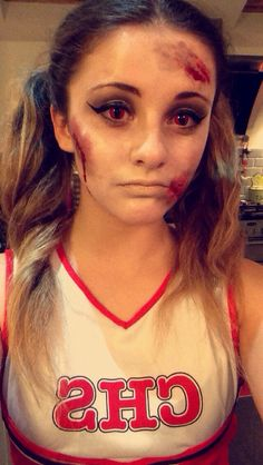 Turned my cousin into a dead cheerleader for halloween