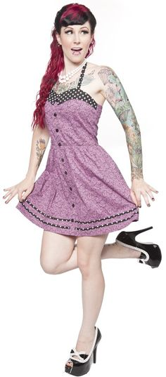 SOURPUSS BOW SKULL HALTER DRESS PURPLE - Dresses - Gals