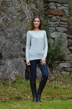 Happy Kinda Life - Achieve understated elegance with this softly shaped round neck jumper. A must have addition to your wardrobe this season. We've cut this from our specially blended soft cotton mix fabric, you're bound to fall in love with this one.