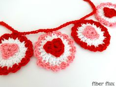 Fiber Flux...Adventures in Stitching: Free Crochet Pattern...Ruffle Heart Garland!
