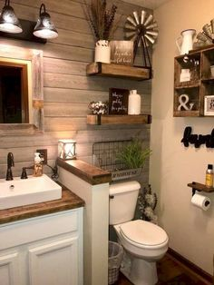 Nice 20+ Gorgeous Farmhouse Style Decoration Ideas. More at https://trendhmdcr.com/2018/05/21/20-gorgeous-farmhouse-style-decoration-ideas/ Bathroom Wood Wall, Farm House Bathroom Decor, Farmhouse Decor Bathroom, Small Rustic Bathrooms, Rustic Bathroom Designs, Hall Bathroom, Bathroom Accent Wall, Bathroom Vanity Decor, Rustic Bathroom Makeover