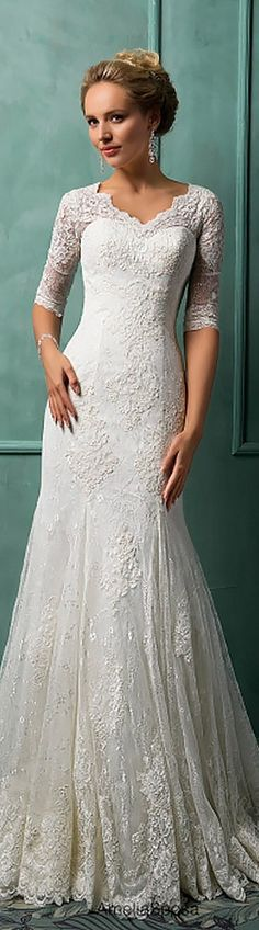 21 Lace Wedding Dresses That You Will Absolutely Love. ❤ Get inspired with our lace wedding dresses gallery from famous designers, their romantic colour palette, and decorative lace. See more: http://www.weddingforward.com/lace-wedding-dresses/ #weddings #dresses