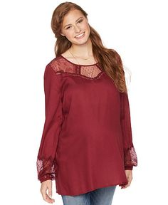 4a2d5ad696df2 Wendy Bellissimo Long Sleeve Lace Trim Maternity Blouse available at Destination  Maternity + Motherhood Maternity