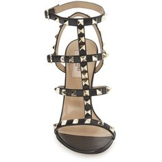 Women's Valentino Garavani 'Rockstud' Ankle Strap Sandal (4.050 RON) ❤ liked on Polyvore featuring shoes, sandals, ankle strap sandals, strappy stilettos, valentino sandals, strap shoes and caged shoes