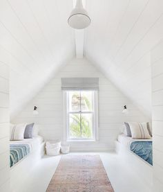 Fresh white kids room with vintage textiles in converted attic space. 25 Beautiful Interior Modern Style Ideas Trending This Summer – Fresh white kids room with vintage textiles in converted attic space. Attic Bedroom Designs, Attic Bedrooms, Bedroom Loft, Bedroom Decor, Extra Bedroom, Bedroom Ideas, Loft Room, Bedroom Colors, Attic Bedroom Kids