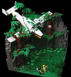 20 Creative Lego Creations -looks just like the crash from 'Lost'! Lego Moc, Lego Minecraft, Lego Lego, Lego Display, Lego Design, Legos, Lego Poster, Lego Batman, Lego Hacks