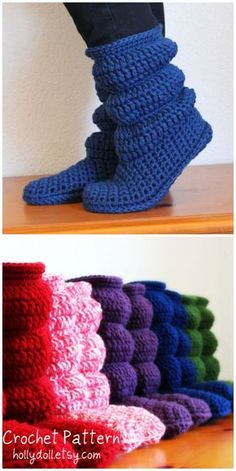 You will love this Crochet Slouch Boots Pattern and they are so incredibly comfy. They look great with your favorite jeans and leggings.Everyone Is Going Crazy For These Stunning Slouch Boots Easy Crochet Slippers, Crochet Slipper Boots, Crochet Cozy, Crochet Socks, Crochet Gifts, Diy Crochet, Crochet Clothes, Felted Slippers, Slipper Socks