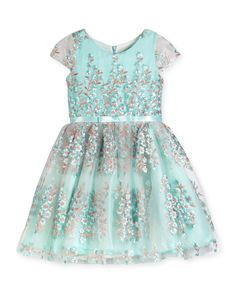Cap-Sleeve Floral Embroidered Tulle Dress, Blue, Size 7-16 - Zoe