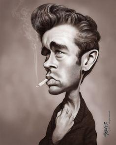 James Dean (celebrity) caricature - http://dunway.us