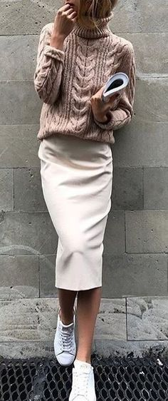 #spring #outfits woman wears brown sweater and white skirt. Pic by @streetstyles_world