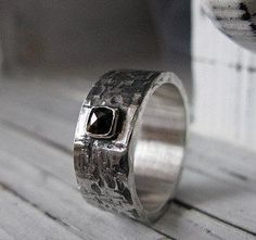 Black Diamond and Sterling Silver Wedding Ring 10 mm Width Mens Wedding Band Black Diamond Ring - http://blackdiamond-rings.com/black-diamond-and-sterling-silver-wedding-ring-10-mm-width-mens-wedding-band-black-diamond-ring/