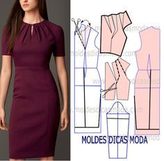 DIY Women's Clothing : molde vestido lilas -Read More – Sheath dress - pivot dart and slash for pleated neckline How to slash & spread to get these pleats on dress bodice What About Amazing Easy Sewing Projects ? 12 Sewing Patterns Tips Dress Sewing Patterns, Clothing Patterns, Pattern Dress, Diy Clothing, Sewing Clothes, Robe Diy, Costura Fashion, Fashion Sewing, Diy Dress