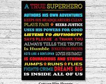 On Sale A True Superhero Is Inside All Of Us, Superhero Rules, INSTANT DOWNLOAD, Superhero Decor, Superhero Classroom, Boys Superhero