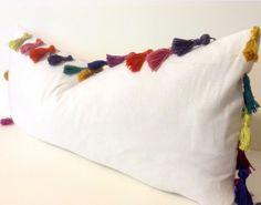 10x22 inch-white linen- tassel pillows