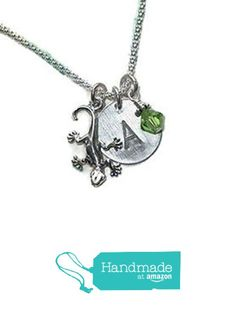 Gecko Lizard Hand Stamped Sterling Silver Personalized Initial Charm Necklace from Dolphin Moon Creations http://smile.amazon.com/dp/B016TNYZNE/ref=hnd_sw_r_pi_dp_3ikqwb15XNAVC #handmadeatamazon