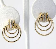Diamond Accent Triple Circle Hoop Drop Earrings in 14K Yellow Gold #Drop
