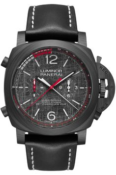 Flying the colours of the America's Cup team, meet three new Panerai Luna Rossa Luminor watches, ref. Gents Watches, Watches For Men, Panerai Regatta, Luminor Watches, Panerai Automatic, Oliver Smith, Calf Leather, Black Leather, Monochrome Watches