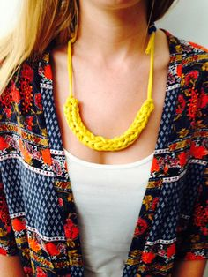 """This soft necklace—that can be made from fabric of an old t-shirt—won't weigh you down, and adds that """"pop of color"""" everyone's telling you an outfit needs (they're right)."""