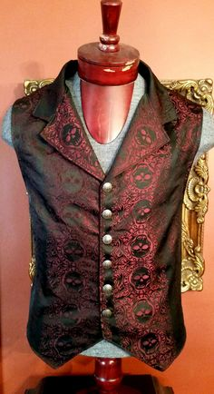 Men's skull brocade single breasted vest made to order to your measurements Victorian steampunk