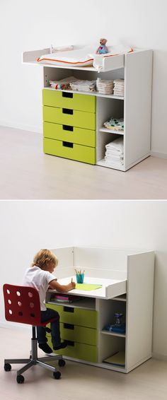 The STUVA changing table grows with your child by transforming into a desk! The drawers are sold separately, so you can choose among a variety of colors and sizes.
