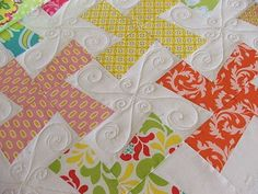 Love these colors/blocks/quilting!