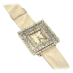 Rolex Lady's White Gold, Diamond and Pearl Square Wristwatch   From a unique collection of vintage wrist watches at https://www.1stdibs.com/jewelry/watches/wrist-watches/