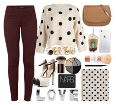 """""""cream & black & brown & red"""" by skyespark4444 ❤ liked on Polyvore featuring GUESS, Kate Spade, MICHAEL Michael Kors, J Brand, lilah b., Maybelline, H&M, NARS Cosmetics, Hourglass Cosmetics and women's clothing"""