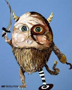 """ArtRevolution.com Artist: Carrie Alter,   Follow Her Art: ArtRevolution.com/carriealter/  """"I believe that all children are artists until they are somehow told that they are not.""""   #ArtRevolution #art #revolution #artist #artlife #monster #childhood #horns #quote #inspiration #painting"""