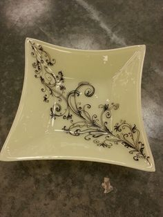 Almond fused glass square bowl with hand painted design using glassline paint