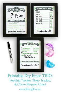 Dry Erase TRIO Printables: Newborn Feeding Tracker, Sleep Tracker, Chore Request Chart | Baby Shower Gift