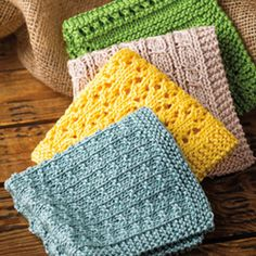 Knitting Pattern for Simply Washcloths - 4 different stitch patterns make pretty washcloths. Each washcloth finishes up approximately 10 inches square. Knitted Washcloth Patterns, Knitted Washcloths, Dishcloth Knitting Patterns, Crochet Dishcloths, Knit Or Crochet, Bead Crochet, Crochet Crafts, Knit Patterns, Free Knitting